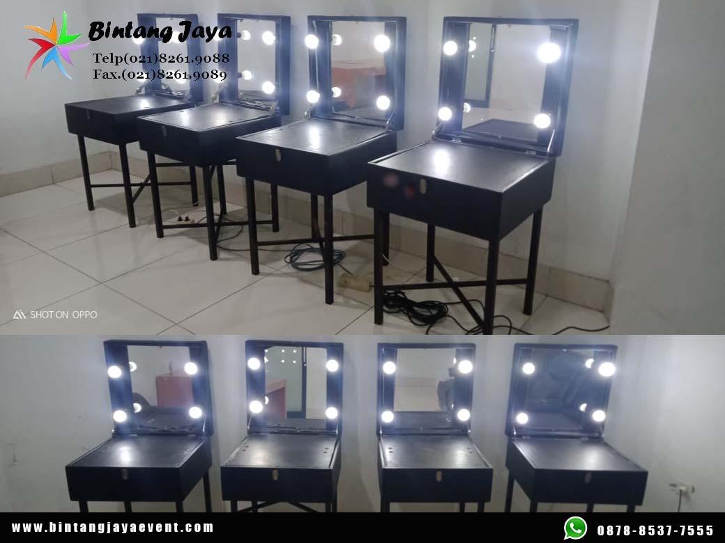 Sewa kaca rias putih + Meja Lampu terang hasil makeup maksimal